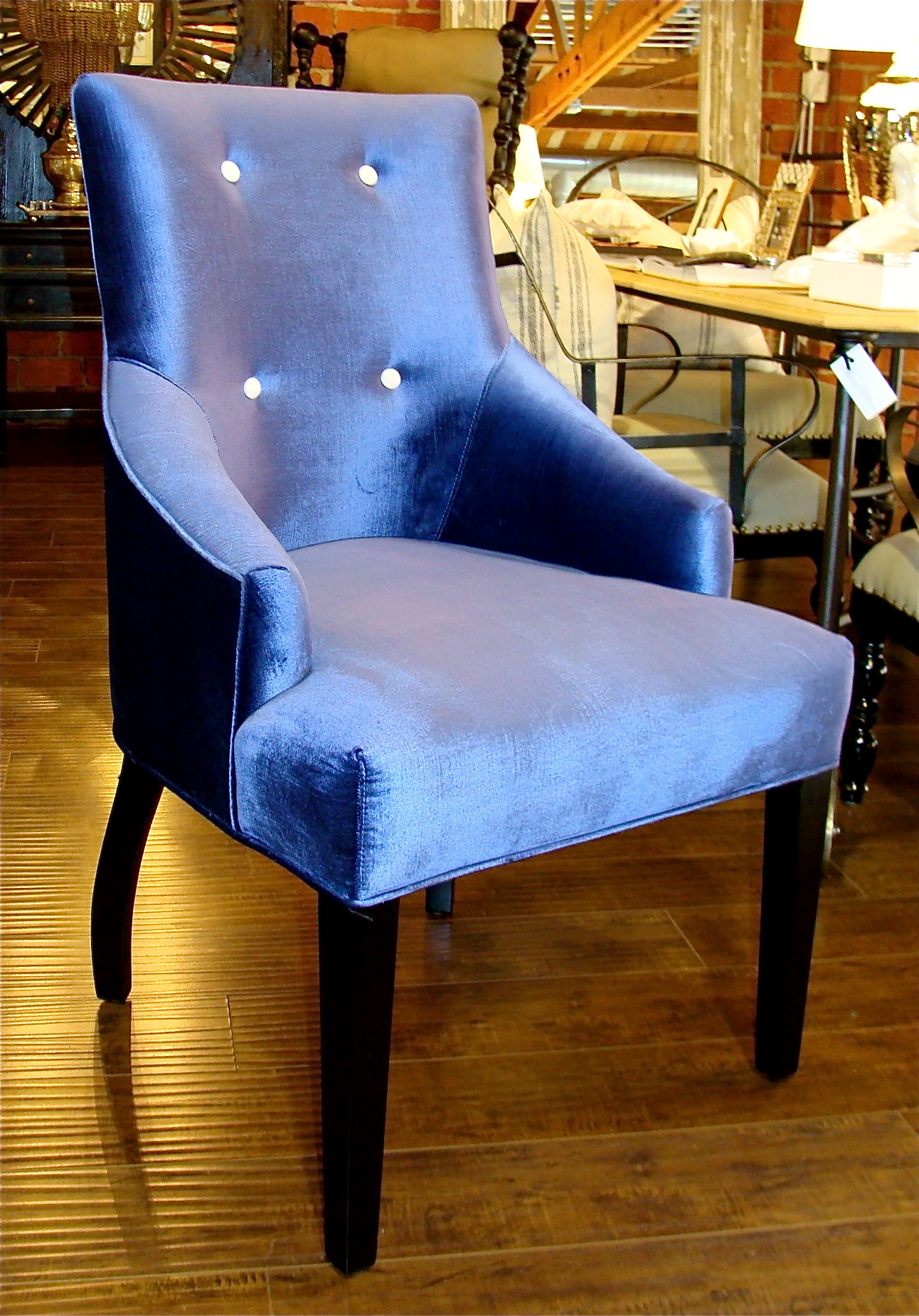 Blue velvet dining chair with white buttons 22 bond st for Dining room velvet chairs